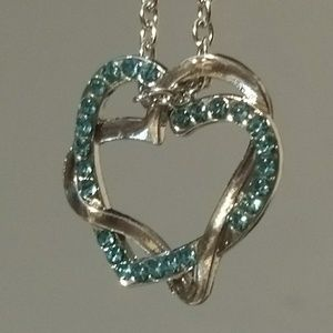 Jewelry - DOUBLE HEART NECKLACE - love jewelry crystals blue